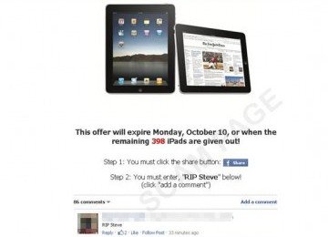 bid ipad free on facebook